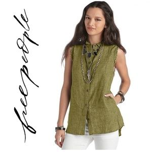 Free People Olive Green Vest w/ Pockets
